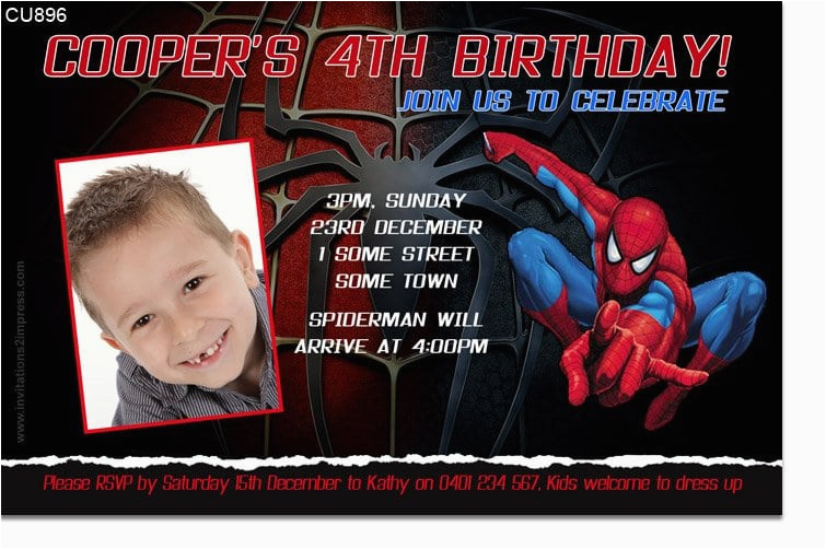 Spiderman Birthday Invitations With Photo Invitation Template Free