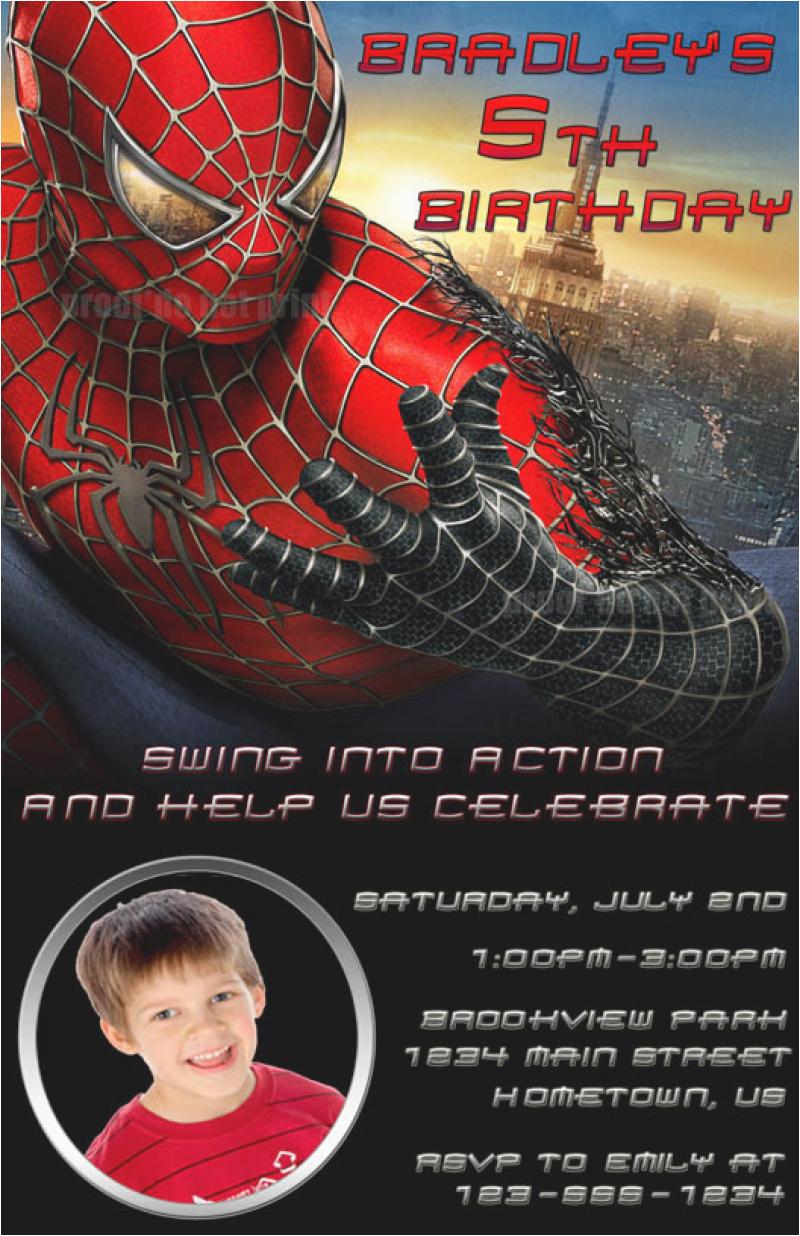 spiderman personalized birthday party invitation