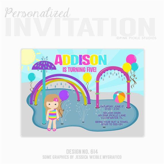 splash pad invitations water park