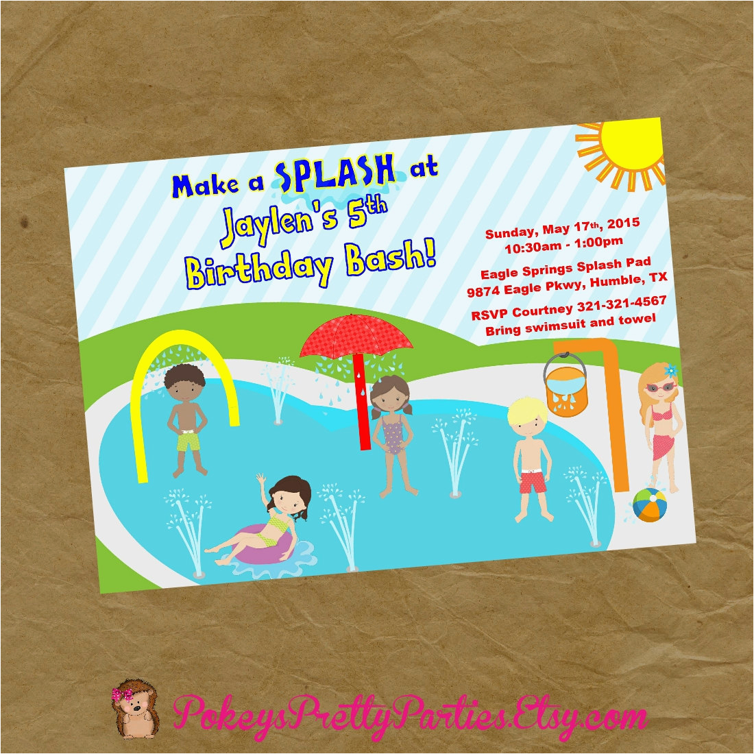 new boy and girls splash pad birthday