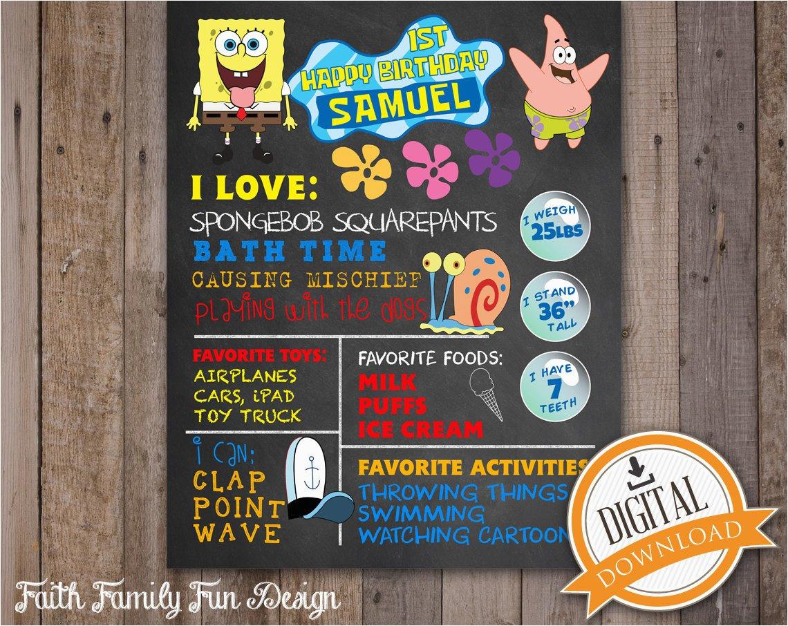 Spongebob 1st Birthday Invitations