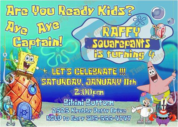 Spongebob 1st Birthday Invitations First