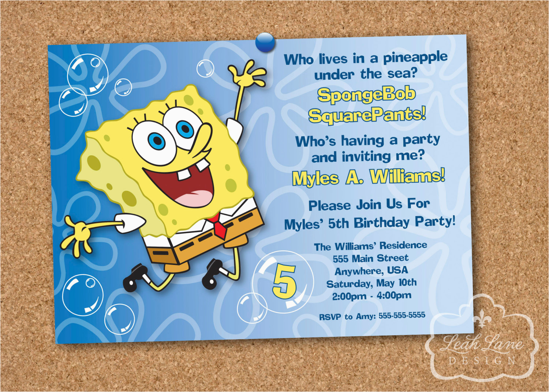 Spongebob Squarepants Birthday Invitations Spongebob Squarepants Birthday Party Printable Invitation
