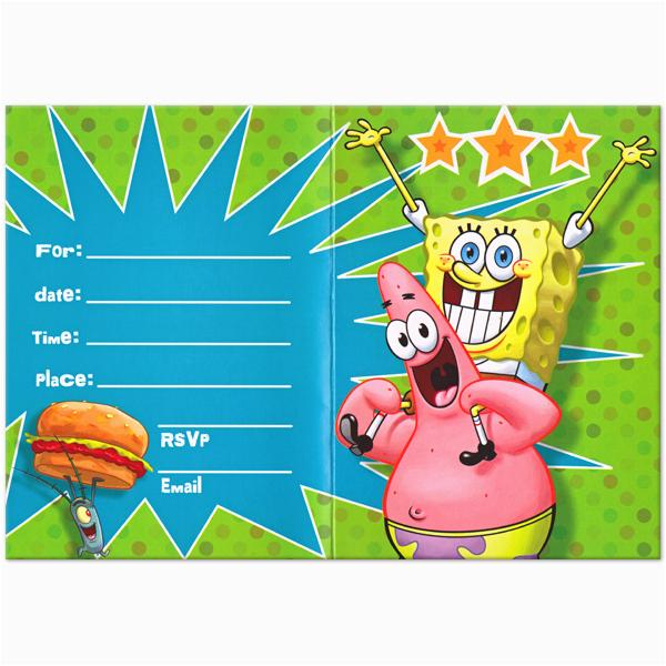 free printable spongebob birthday invitations