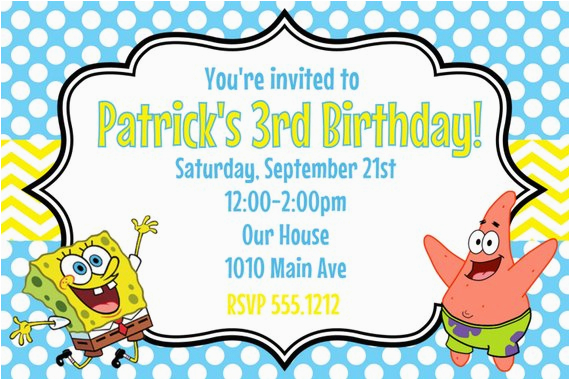 Spongebob Squarepants Printable Birthday Invitations Free Party Invitation 4x6