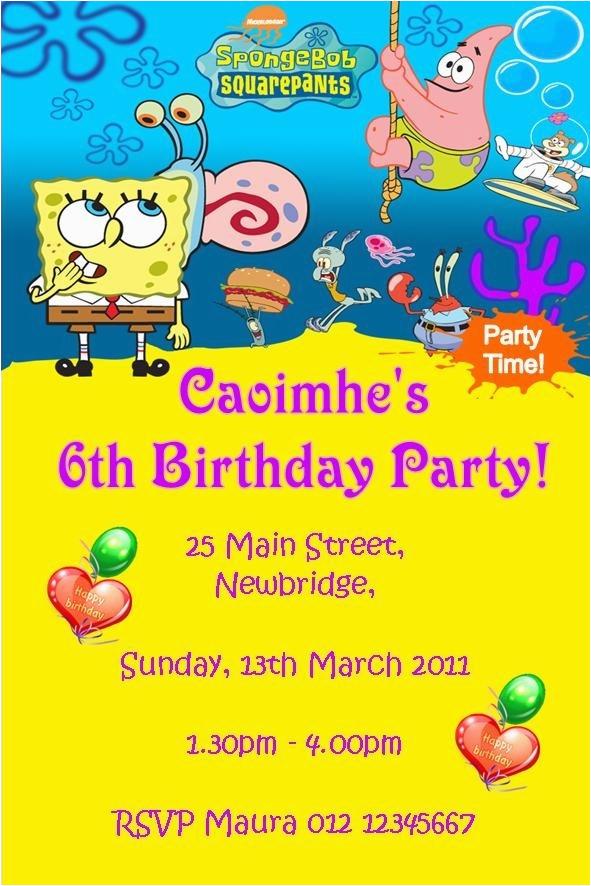 Spongebob Squarepants Printable Birthday Invitations Free Cobypic Com