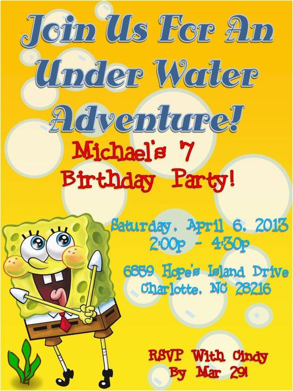 Spongebob Squarepants Printable Birthday Invitations Free Party Invitation By