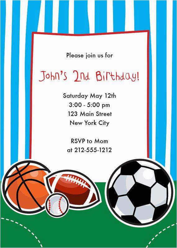 sports themed birthday party invitations