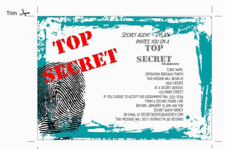 spy party invitations printable free