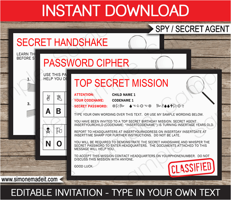 spy secret agent birthday party invitations decorations