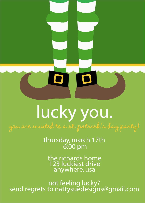 St Patrick S Day Birthday Invitations Lucky St Patrick 39 S Day Party Invitation by Nattysuedesigns1