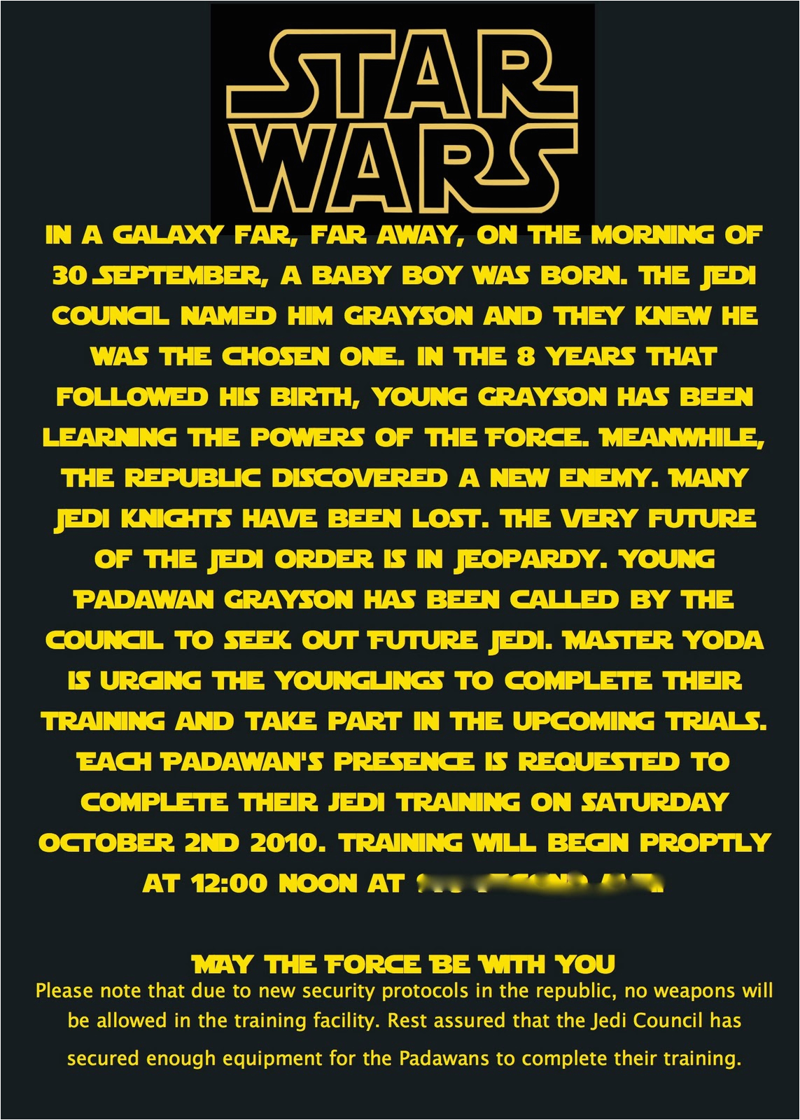 Star Wars Birthday Invitation Wording at Second Street Star Wars Party What I Did