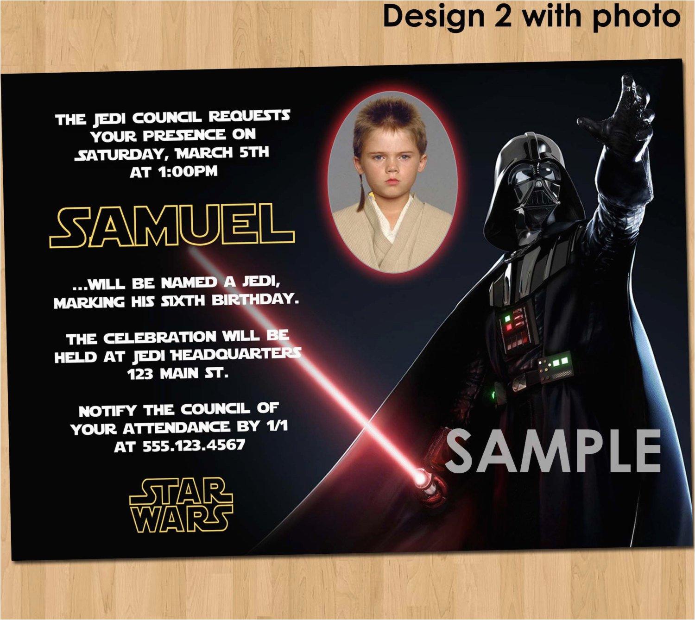 star wars birthday invitation custom