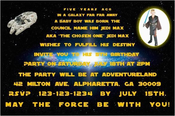 star wars photo invitations