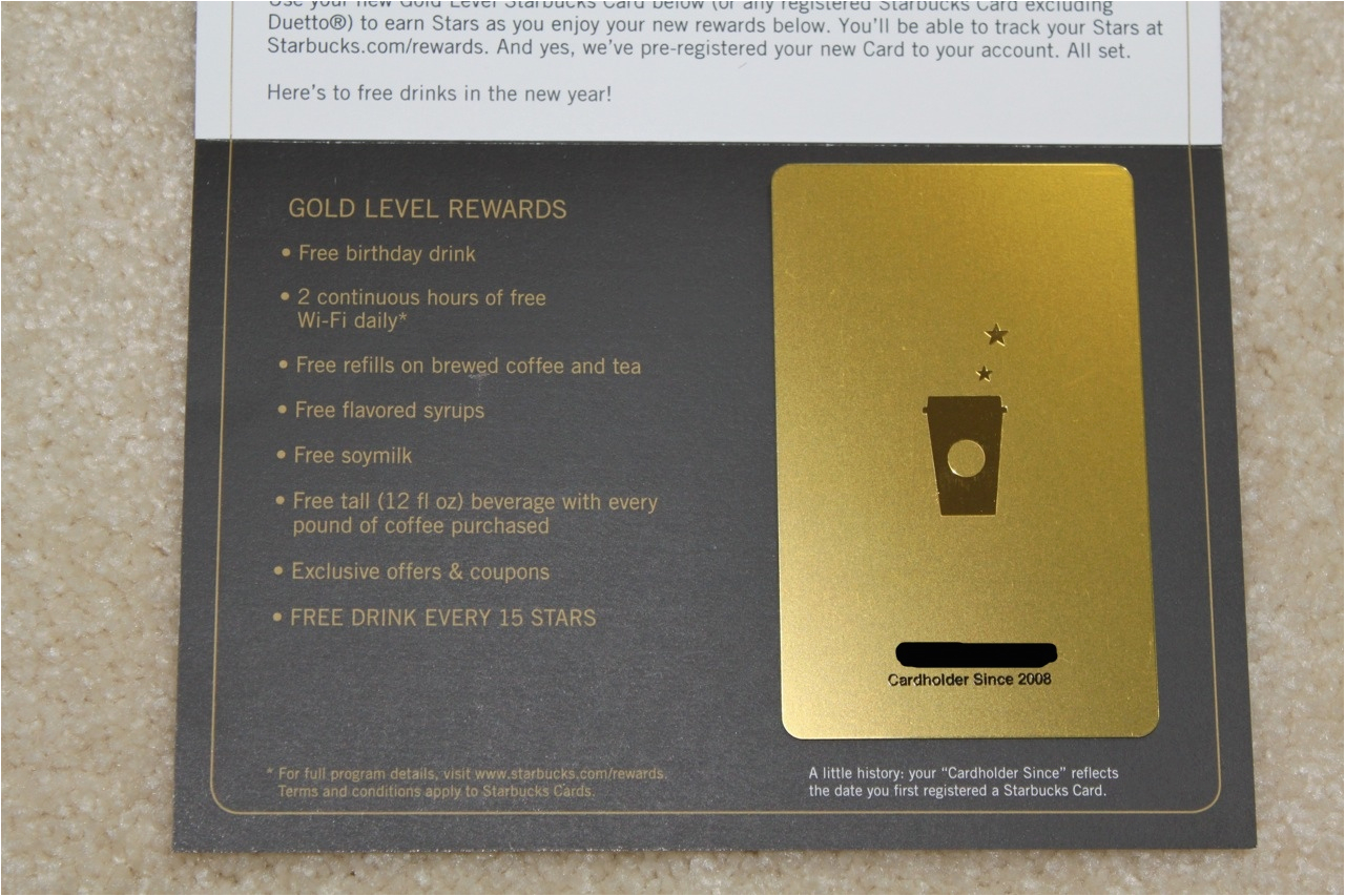 Starbucks Gold Card Birthday Reward Gift Save Money On Each Purchase