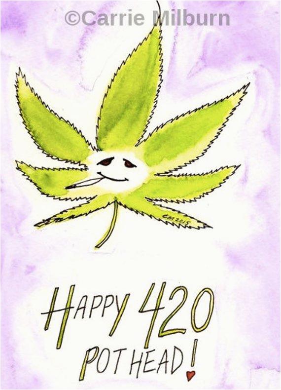 happy 420 card funny stoner greeting card pot leaf pot head