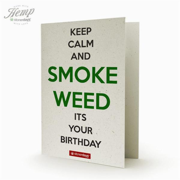 keep calm smoke weed hemp birthday card stonerdays