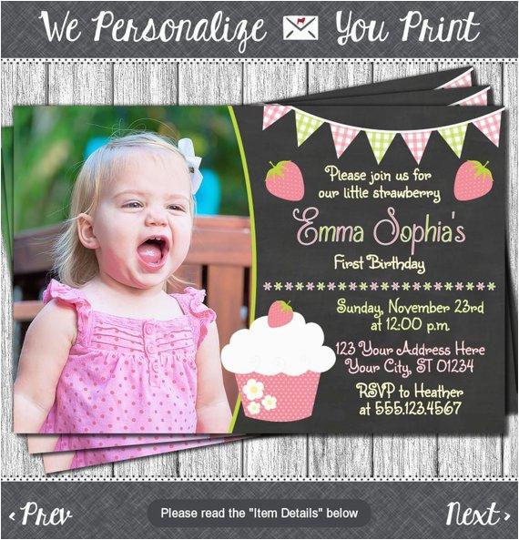 strawberry birthday invitation strawberry shortcake first 2