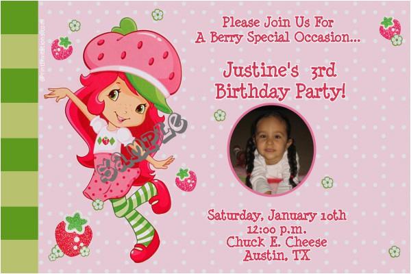 strawberry shortcake birthday invitations modern
