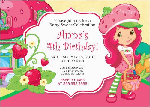 strawberry shortcake birthday invitation digital personalized