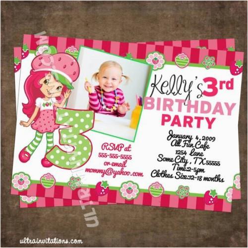 modern strawberry shortcake photo invitations