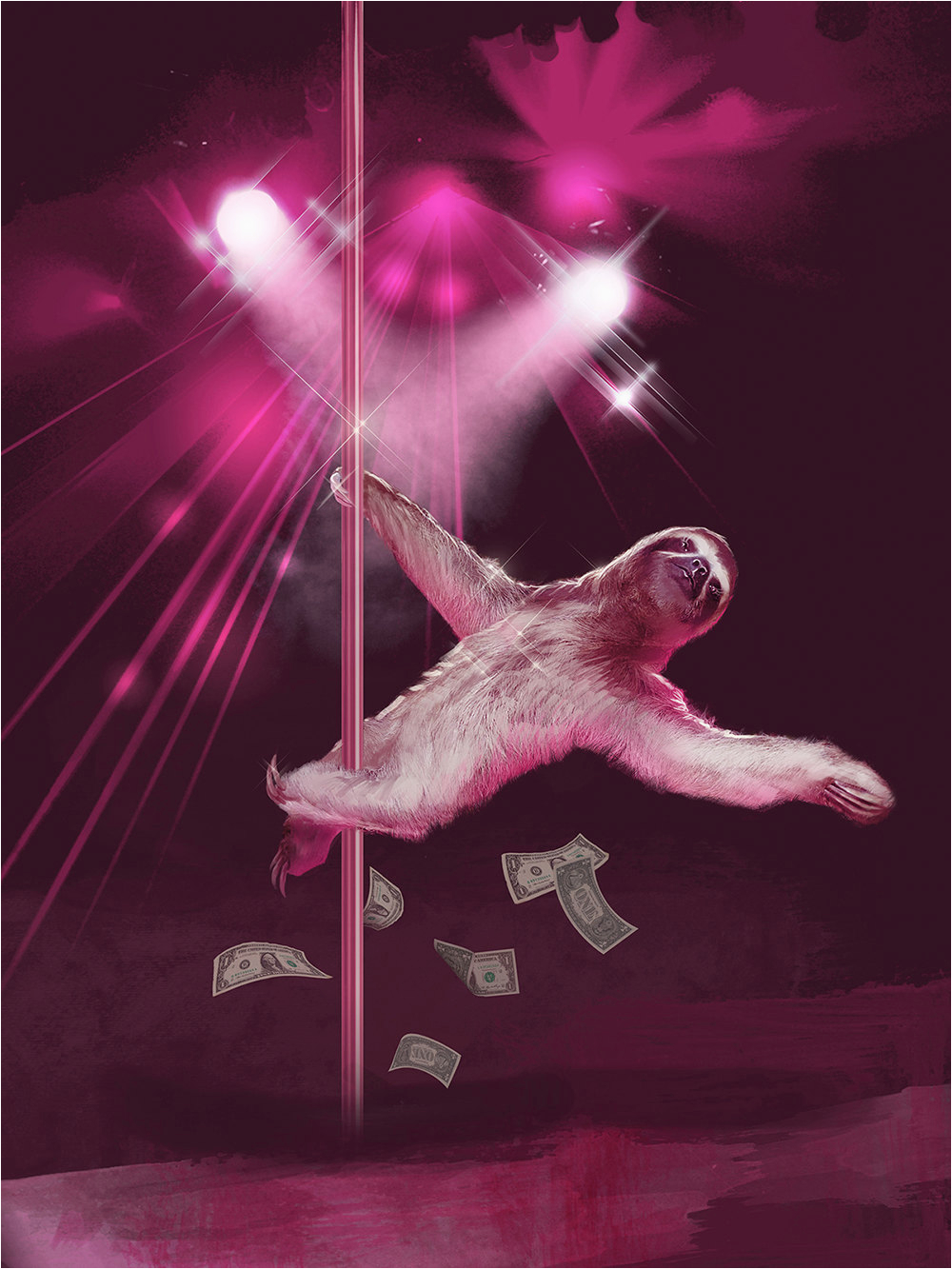 stripper sloth slothzilla 3 pack birthday card greeting cards matching envelopes included