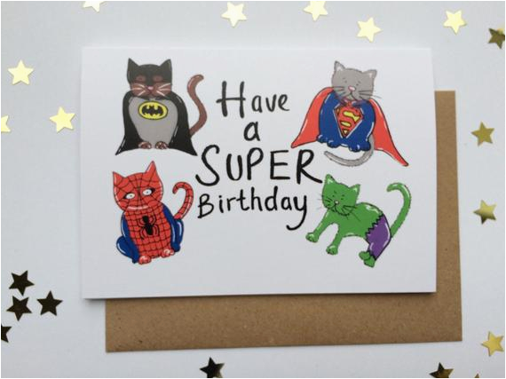 funny cat greeting card super hero cats happy birthday