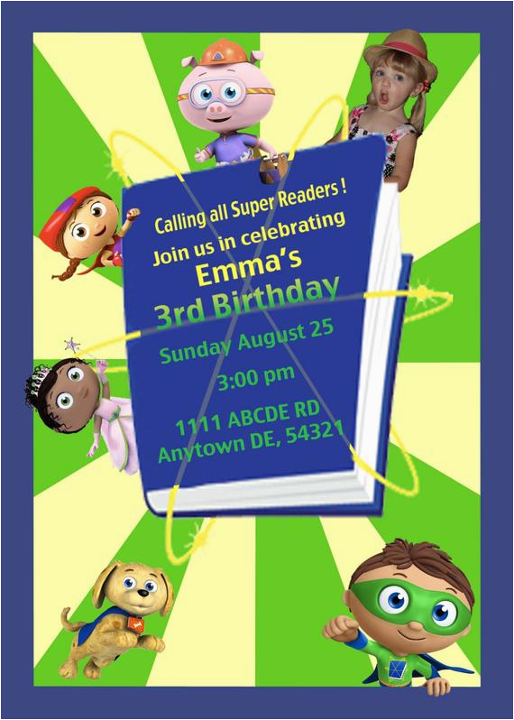 printable super why birthday party