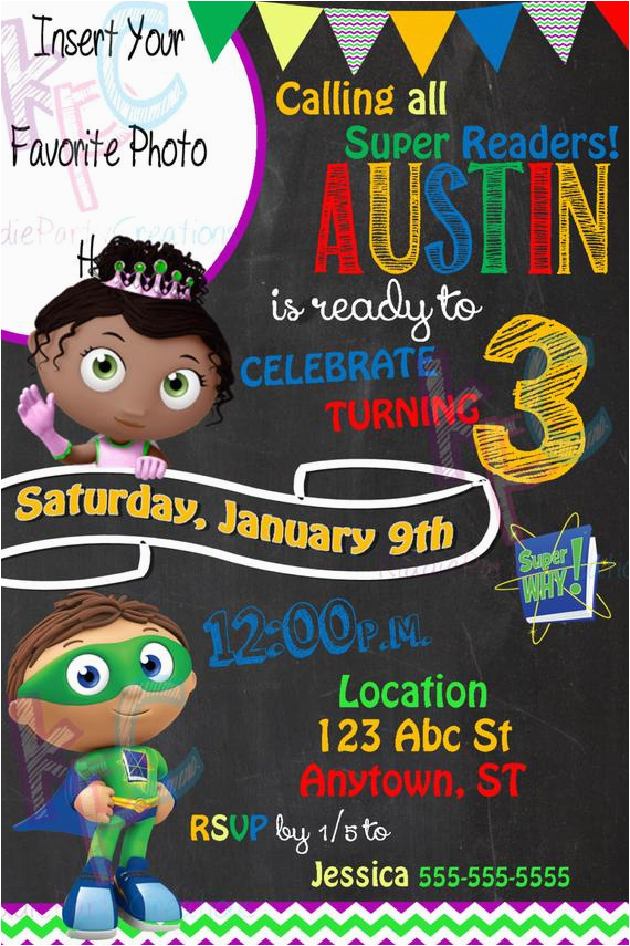 super why 4x6 birthday party chalkboard