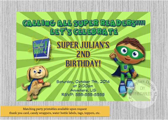 super why birthday invitations super