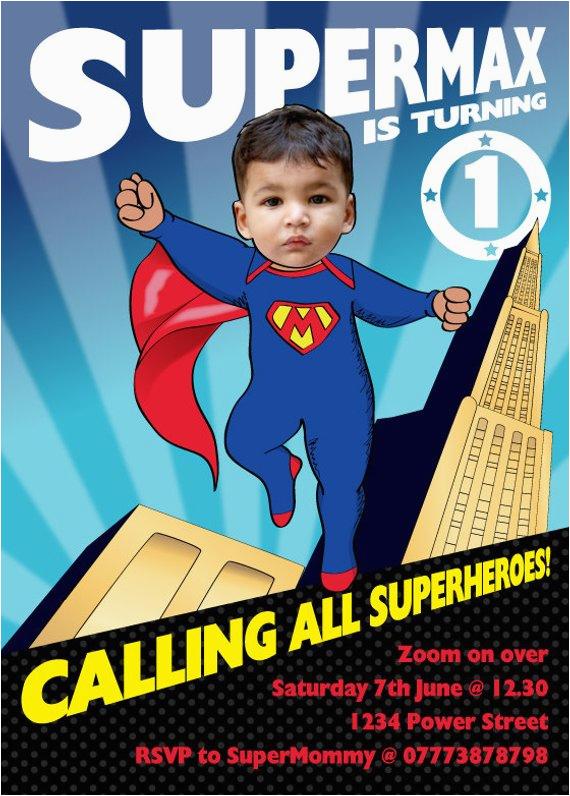 Superhero 1st Birthday Invitations Baby Party Invitation Personalized