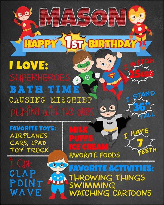 first birthday chalkboard superheroes by faithfamilyfundesign