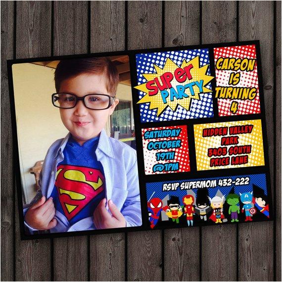 superhero invitation fast customize custom picture