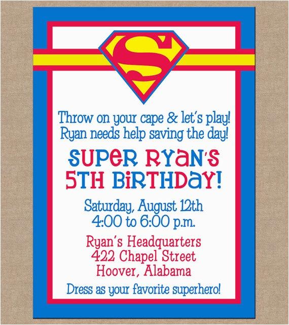 Superhero Birthday Invitation Wording 25 Best Ideas About Superman