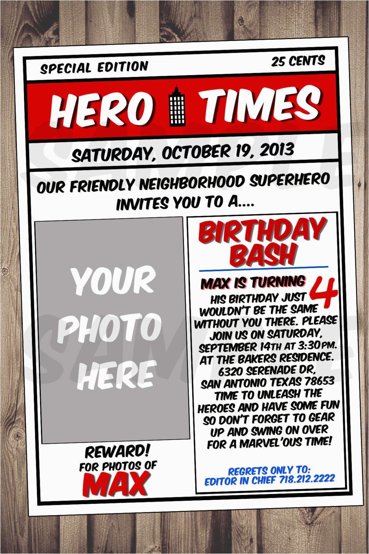 superhero invitation 5x7 superhero