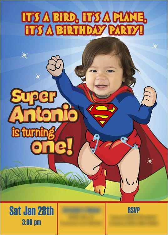 Superman 1st Birthday Invitations 29 Best Invitation Baby Superheroes Images