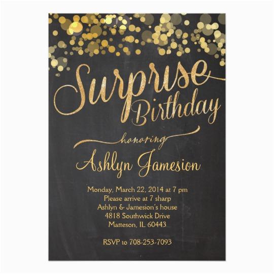 sparkle glitter surprise birthday invitation zazzle com