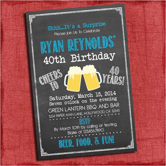 Surprise 21st Birthday Invitations Surprise 21st 30th 40th 50th Beer Cheers Chalkboard