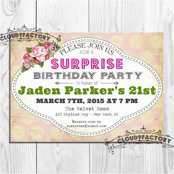 Surprise 21st Birthday Invitations Surprise 21st Birthday Party Invitation Digital Printable