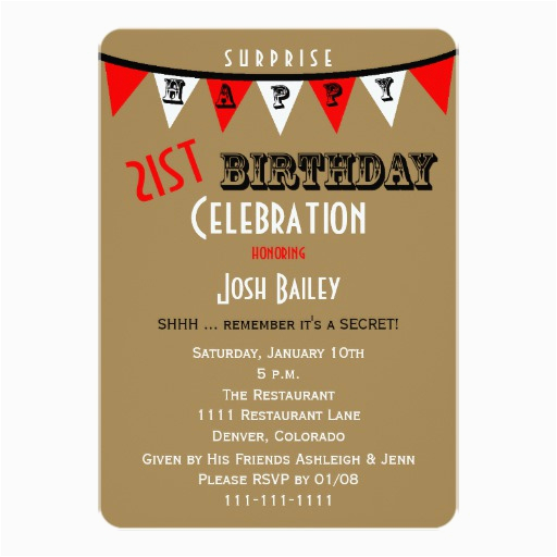 surprise 21st birthday party invitations bunting 161909759944859348