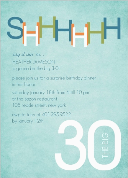 Surprise 30 Birthday Invitations Blue And Green 30th Invitation
