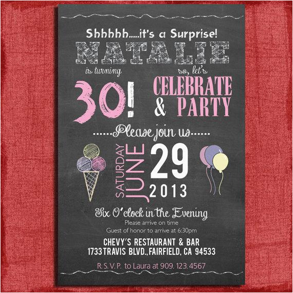 Surprise 30th Birthday Invitations For Him 21st 40th 50th Chalkboard Style