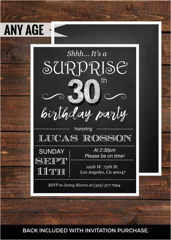 Surprise 30th Birthday Invitations For Men Him Mens