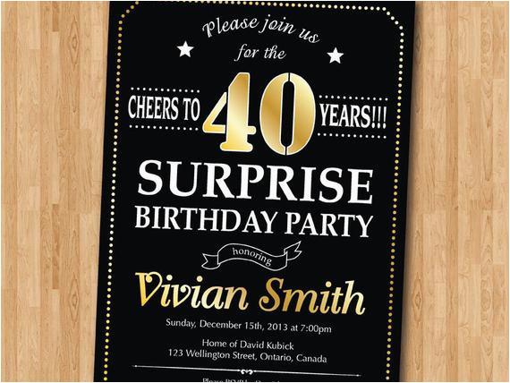surprise 40th birthday invitation 30th