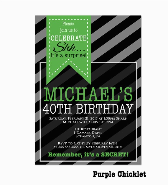 Surprise 40th Birthday Invites Party Invitation Mens By Purplechicklet