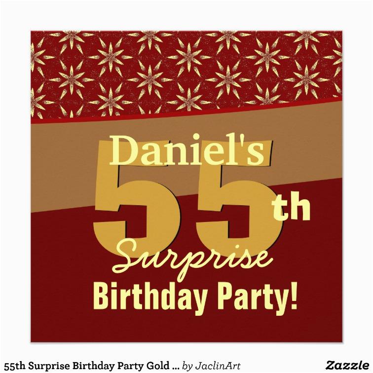 Surprise 55th Birthday Invitations Party Gold Orange Stars Custom
