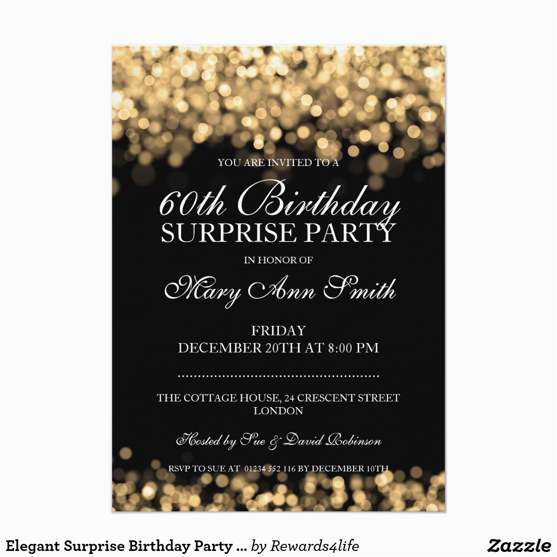 Surprise 60 Birthday Party Invitations 60th