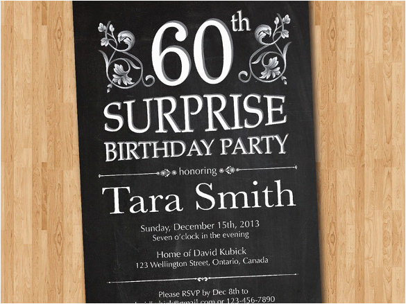 Surprise 60th Birthday Invitation Templates Free Template Orderecigsjuice Info