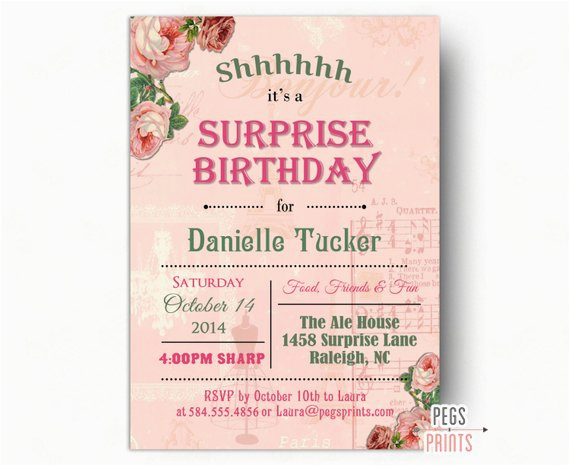 shabby chic surprise party invitation printable surprise