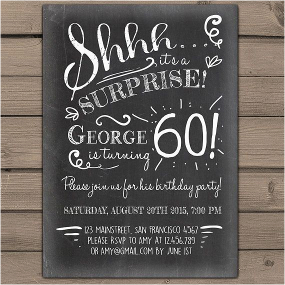 surprise 60th birthday invitation chalkboard invitation